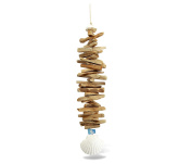 Nautical Decor Scallop Shell Driftwood Wind Chime 60cm
