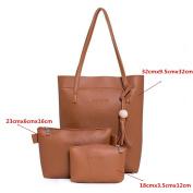 OURBAG 3PCS Vintage Women Shoulder Bag PU Leather Messenger Crossbody Purse Set Brown