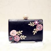 OURBAG Elegant Women Flowers Clutches Purses Bags Leather Envelope Pearl Wallet Evening Handbag Black