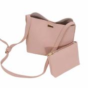 OURBAG Women Simple Handbag Cross Body Bag Magnetic Buckle Shoulder Bag With Pouch 2Pcs Clutch Purse Pink