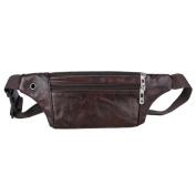 Domybest Classic Men Waist Packs PU Leather Shoulder Sport Bags Zipper Solid Colour Sling Money Card Phone Bags