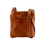 Made In Italy Genuine Leather Crossbody Bag Colour Cognac Tuscan Leather - Man Bag