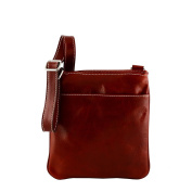 Made In Italy Genuine Leather Crossbody Bag Colour Red Tuscan Leather - Man Bag