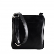 Made In Italy Genuine Leather Crossbody Bag Colour Black Tuscan Leather - Man Bag