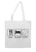 Eat Sleep Cook Chef Hat Tiles Funny Hobby Activity Tote Bag Shopper