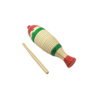 Mowind Wooden Guiro Fish-Shaped Colourful Kid Children Musical Toy Percussion Instrument