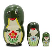 8.3cm Set of 3 Green Frogs Wooden Russian Nesting Dolls