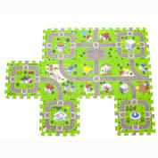 Road Playmat Toy Foam Playroom Interlocking Floor Puzzle Road Mat Interactive Play Set