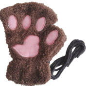Raylans Womens Winter Bear Fluffy Paw Claw Gloves Half Finger Winter Mittens