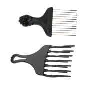 Sharplace 2 Pieces Wide Narrow Tooth Hairdressing Afro Hair Pick Comb Detangle Wig Braid Styling Lift Hairbrush Black Plastic + Metal