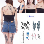 Yeeech 6 Sheets Flower Rose Plum Wings Quotes Sexy Products Temporary Tattoos Sticker for Women Black Green Blue Pink Too Fast To Live Too Young To Die Design Fake Body Art Makeup