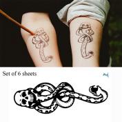 Yeeech 6 Sheets Harry Potter Magic Mantra Snake Skull Death Easters Dark Mark Designs Temporary Tattoos Sticker for Kids Men Women Waterproof