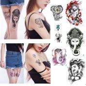 Yeeech Elephant Designs Temporary Tattoos Sticker 6 Sheets High Quality Body Art Makeup for Women Men Kids