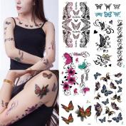 Yeeech 3D Butterfly Series 6 Sheets Temporary Tattoos Sticker for Women Body Art Makeup Waterproof