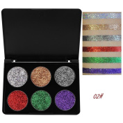 6 Colours Eyeshadow Palette Matte Powder Palette Shimmer Glitter Pigment Textured Eye Shadow Beauty Cosmetic Makeup