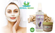 """100% PURE & NATURAL YELLOW SANDALWOO POWDER """"CHANDAN"""" (50G) + PURE LAVENDER WATER (200ML) -SAY NO TO WRINKLES AND YES TO GLOWING SKIN NATURALLY - MAGIC OF HERBS ONLY BY HERBAL MAGIC + PROFESSIONAL NO COST HAIR CARE TIPS (ON DEMAND) GMP/HALAL/ISO CERT P .."""