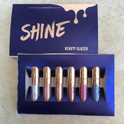 SHINE 6PCS/ SET Long-lasting Shimmer Metallic Lipstick Diamonds Lip Cosmetic Beauty Smooth Glitter Lipsticks