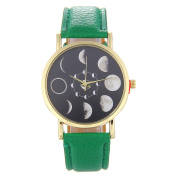 QUINTRA Month Full-grain Moon Pattern Watch Fashion Neutral Leather Watch With Blue White Green Pink Colour