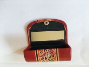 Indian hand embossed colourful floral design red Lipstick case with mirror.