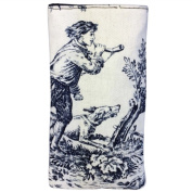 Tapestry Style Eye Glasses Case with Magnetic Closure. Toile de Jouy Design. Fully Lined