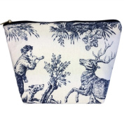 Medium Tapestry Style Makeup Bag with Two Pockets. Toile de Jouy Design with Zip. Fully Lined
