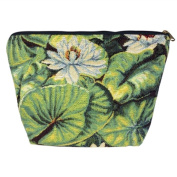 Medium Tapestry Style Makeup Bag with Two Pockets. Water Lily Design with Zip. Fully Lined
