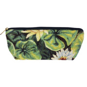 Long Tapestry Makeup and Brush Purse Bag. Water Lily Design with Zip. Fully Lined