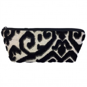 Long Tapestry Makeup and Brush Purse. Flock Design with Zip. Fully Lined