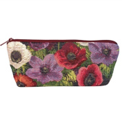 Long Tapestry Makeup and Brush Purse. Anemone Design with Zip. Fully Lined