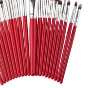 Dolity Professional 20Pieces Foundation Eye Face Makeup Brush Set Blush EyeShadow Lip Brushes Red
