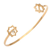Leivankash Gol 22ct Yellow Gold Plated Sterling Silver Open Bangle