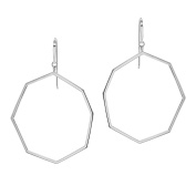 Ron Hami Sterling Silver Geometric Large Front Facing Hoop Earrings