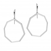 Ron Hami Sterling Silver Geometric Medium Front Facing Hoop Earrings