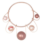 Leivankash Silma Rose Gold Plated Brass - Mocha, Pink, Coral Faux Pearl Choker of Length 13-20cm