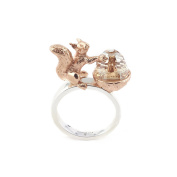 Bill Skinner Rose Gold and Rhodium Plated Clear Crystal Acorn and Squirrel Small Ring
