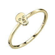 Shy by Sydney Evan Women's Yellow Gold Plated 925 Sterling Silver Diamond Bezel Skull Ring