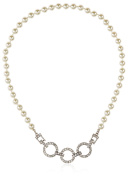 Kenneth Jay Lane Cultura Pearl Strand with 3 Silver/Crystal Ring Clasp Necklace