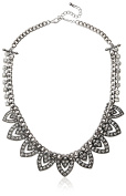 Kenneth Jay Lane Rhodium Chain/Crystal Drops Necklace