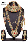 Gorgeous Fabulous Style Gold Plated Ruby Stone Indian Necklace Earrings Bridal Set Partywear Jewellery