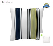 Indoor/Outdoor Throw Pillow with Insert 46cm x 46cm Decorative Square Navy Stripe Cushion Covers Pillow Sham for Couch Bed Sofa Patio Furniture by FBTS Prime