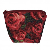 Small Tapestry Makeup Bag. Roses Design with Zip