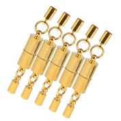 Baosity 5 Pieces Silver/Gold Tone Smooth Cylinder Magnetic Clasps Jewellery Findings Craft - Gold