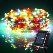 TorchStar 22m 200 LED Starry String Lights, Solar Powered Weatherproof string light for ChristmasFestival Wedding Party Bedroom, RGBY