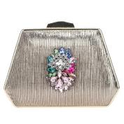 Bonjanvye Multicolorl Big Flower Rhinestone Elegant Clutch Purses for Women Evening Bags