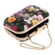 MagiDeal Women Flower Clutch Bridal Handbag Wedding Prom Evening Party Bag Chain Bag