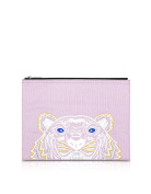 Kenzo Women's F855PM302F2032 Pink Canvas Clutch