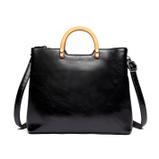 Miss Lulu Tote Cross Body Bag Fashion Wood Handle Soft Pu Leather,Classic Women Purse,Top Handle Bag Black