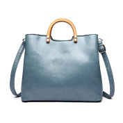 Miss Lulu Tote Cross Body Bag Fashion Wood Handle Soft Pu Leather,Classic Women Purse,Top Handle Bag Blue