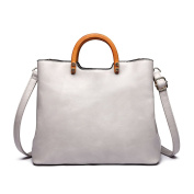 Miss Lulu Tote Cross Body Bag Fashion Wood Handle Soft Pu Leather,Classic Women Purse,Top Handle Bag Grey