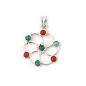 Neerupam Collection Synthetic Turquoise Coral Gemstone German Silver Pendant Fashion Jewellery For Women